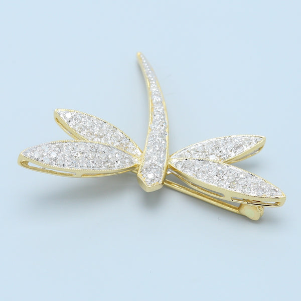 Diamond Dragonfly Pin in 14k Yellow Gold - 1477 Jewelers