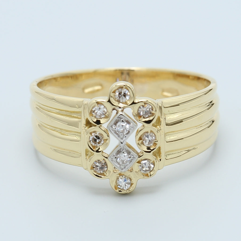18k Yellow Gold Antique Recreation Diamond Ring - 1477 Jewelers