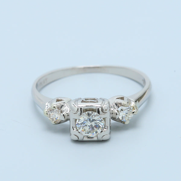 Art Deco Three Stone Diamond Engagement Ring in Platinum - 1477 Jewelers