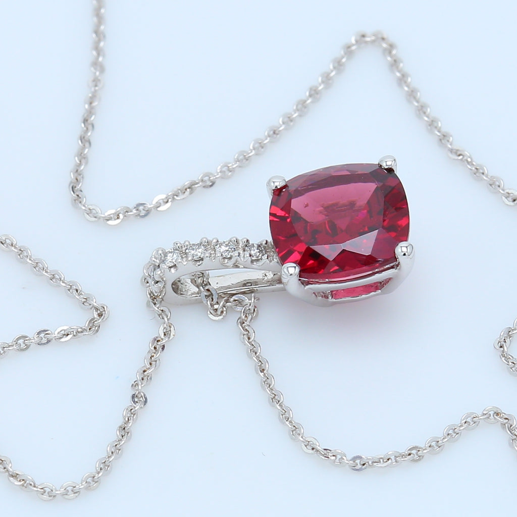 Cushion Wine Garnet Solitaire Necklace - 1477 Jewelers