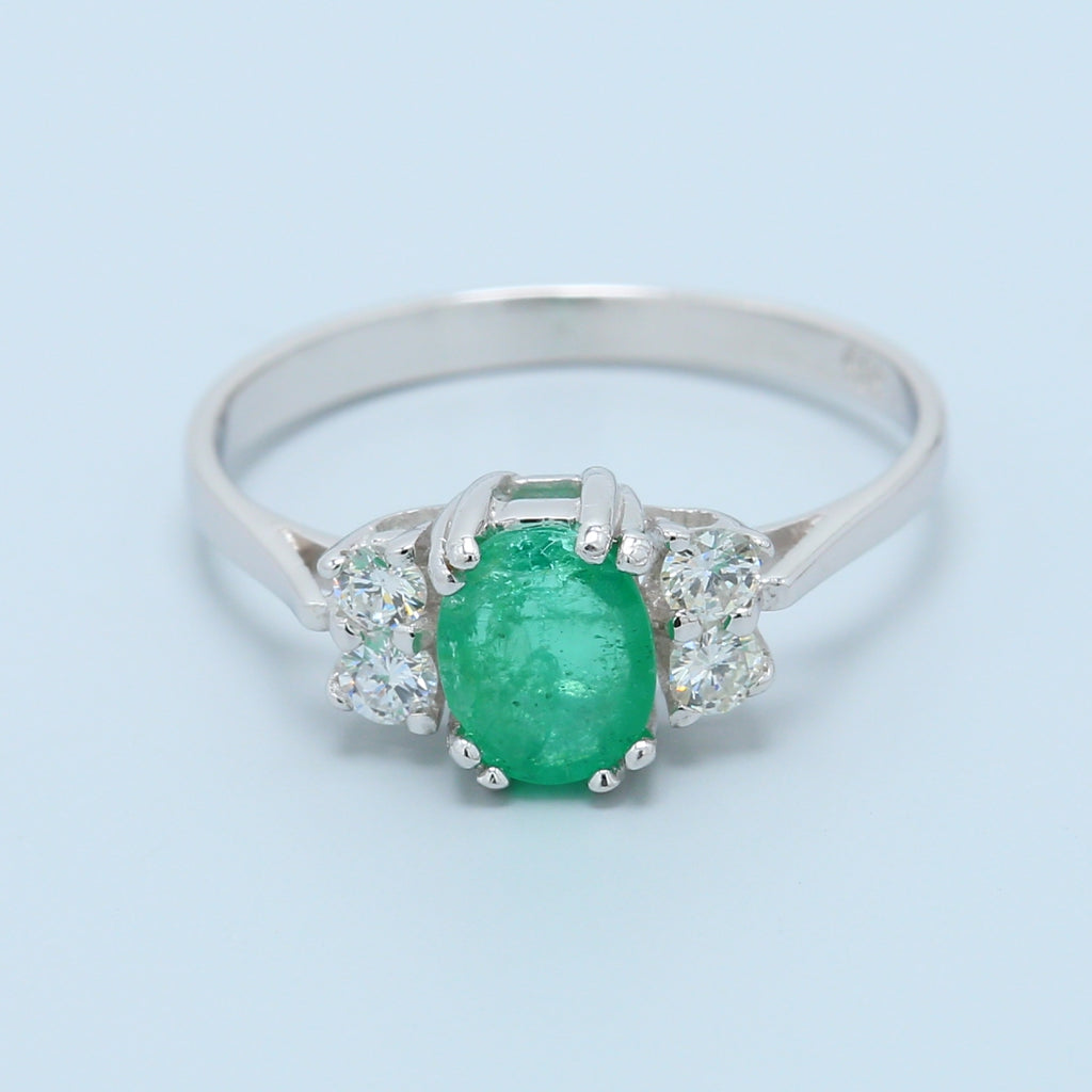 Three Stone Emerald and Diamond 14k White Gold Ring - 1477 Jewelers