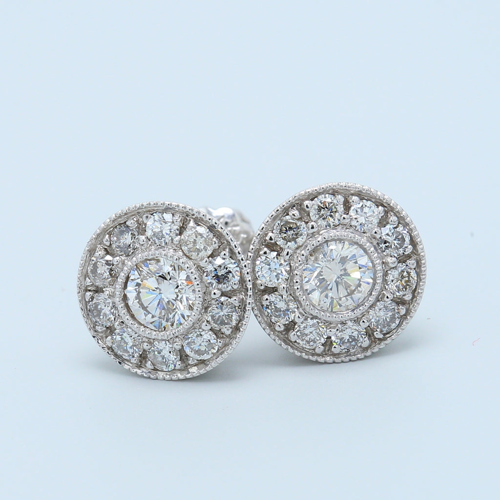 Antique Diamond Halo Stud Earrings - 1477 Jewelers