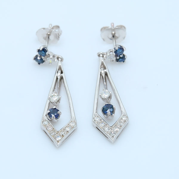 Blue Spinel and Diamond Dangle Earrings