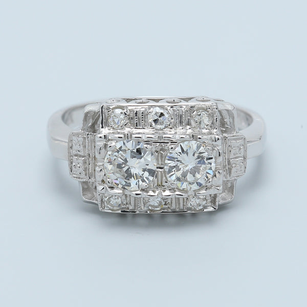 """Toi et Moi"" Two Diamond Antique Ring - 1477 Jewelers"