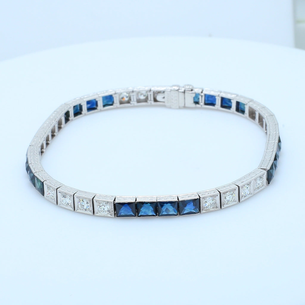 Art Deco Sapphire and Diamond Platinum Bracelet