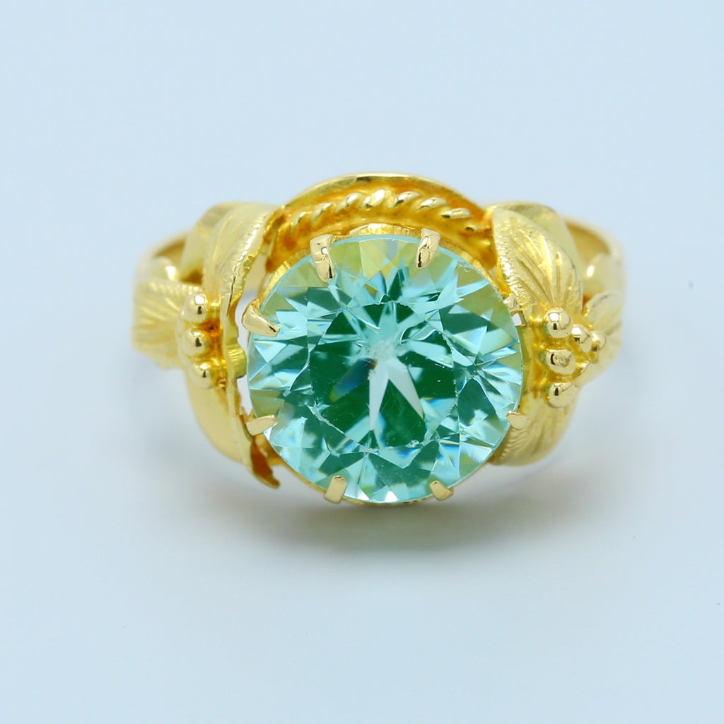 Lab Created Teal Spinel Ring in 18k Yellow Gold - 1477 Jewelers