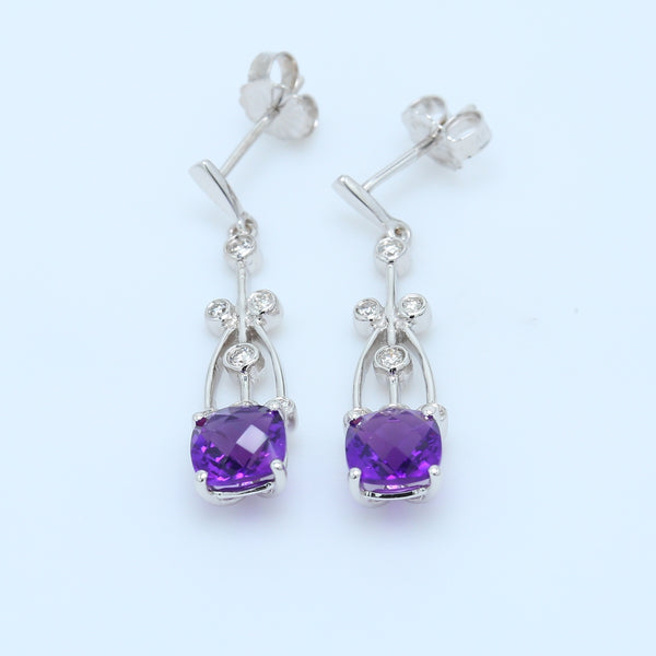 Checkerboard Amethysts and Bezel Diamond Dangle Earrings