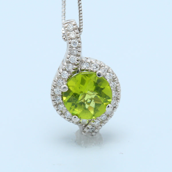 Chartreuse Peridot and Diamond Halo Necklace - 1477 Jewelers