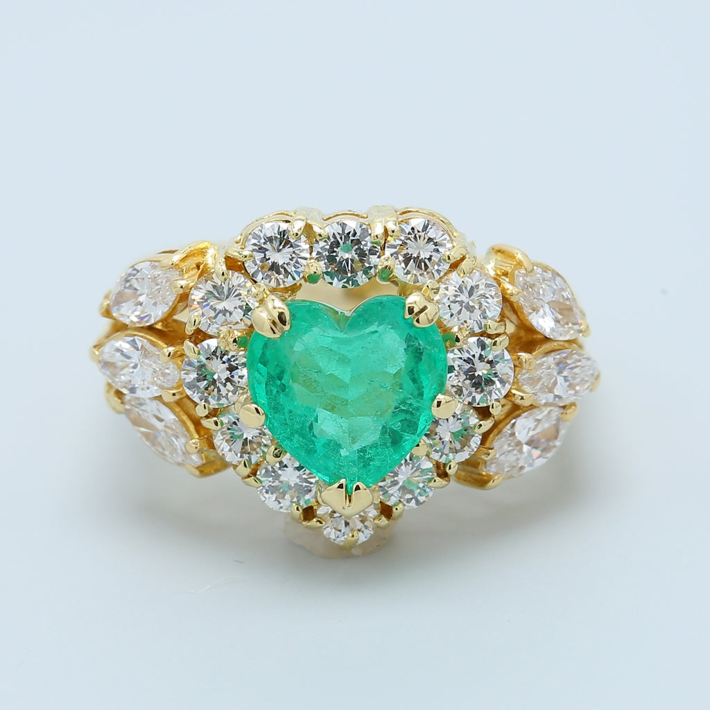 Emerald Heart and Diamond Ring - 1477 Jewelers