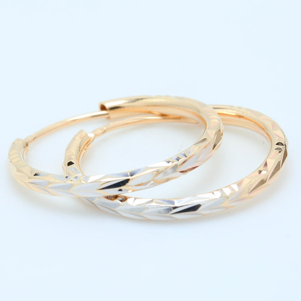 Two Tone Carved 14k Gold Hoops - 1477 Jewelers