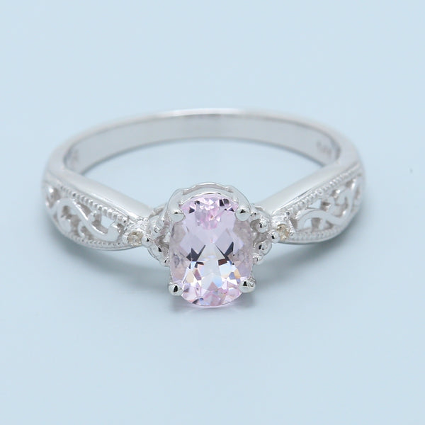 Precious Filigree White Gold Ring with Pink Morganite and Diamonds - 1477 Jewelers