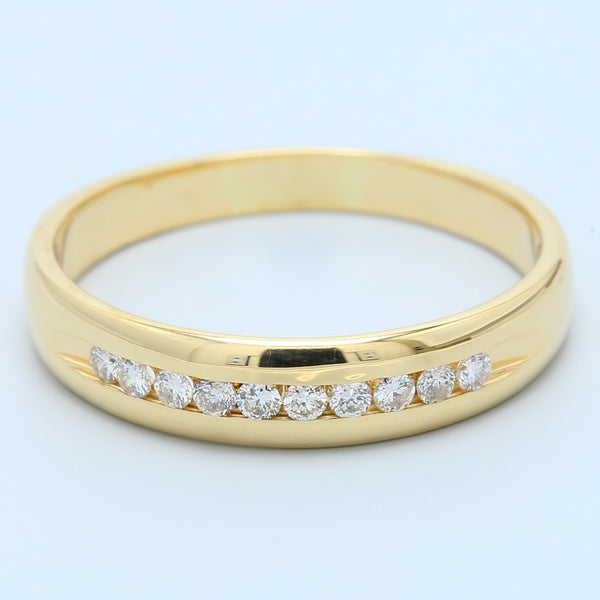 Men's 10 Diamond Band in 14k Yellow Gold - 1477 Jewelers