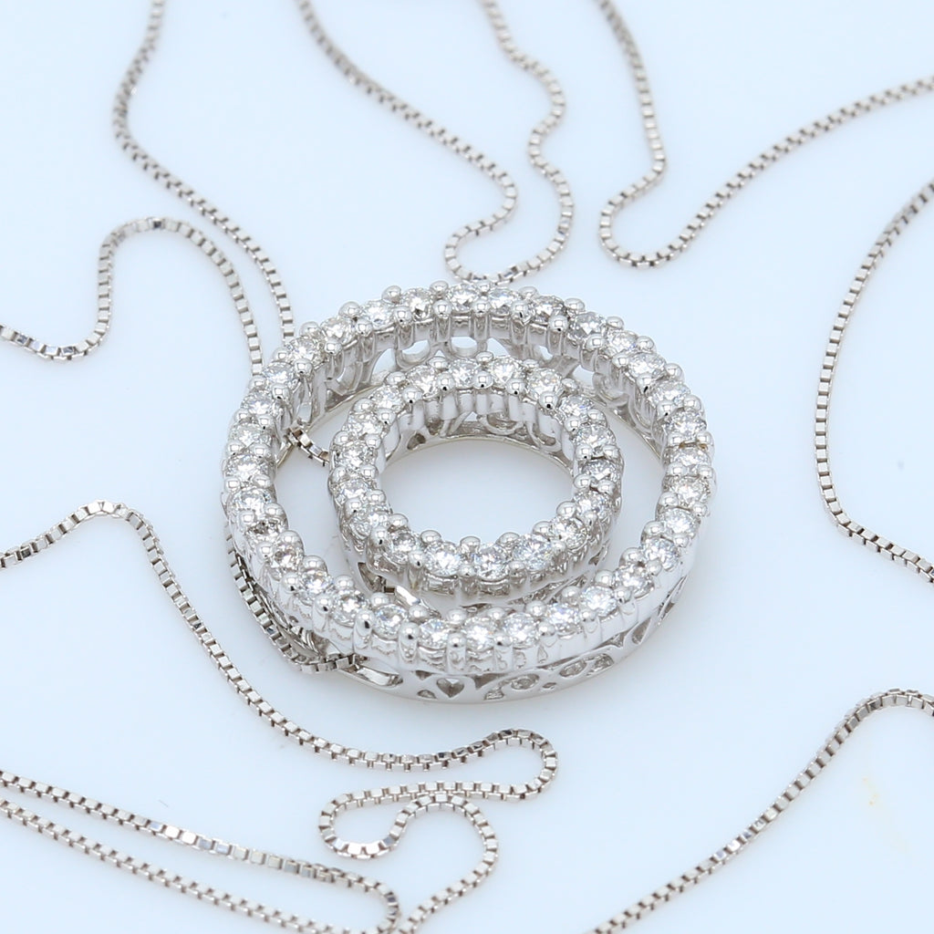 2-in-1 Versatile Diamond Double Circle Necklace - 1477 Jewelers