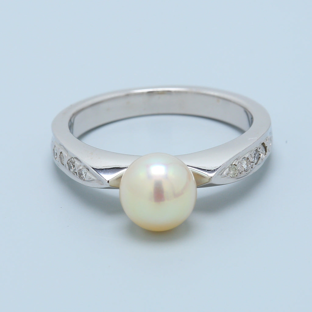 Pearl and Diamond White Gold Ring - 1477 Jewelers