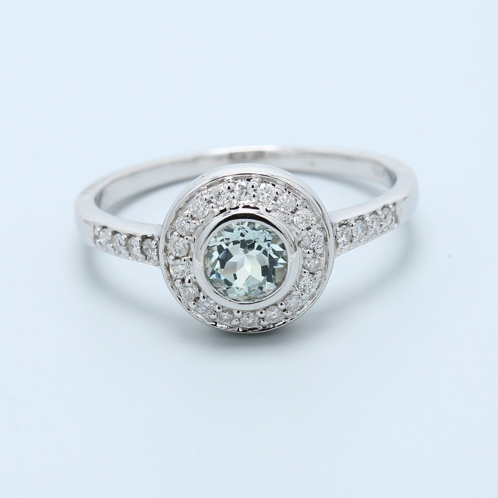 Natural Round Sea Blue Aquamarine Bezel Set With Diamond Halo in 14k White Gold - 1477 Jewelers