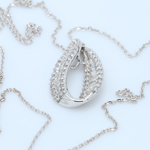 Baguette and Round Diamond Swirl Tear Drop Pendant Necklace