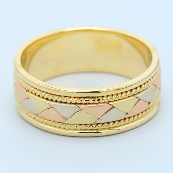 14K Tri Color Gold Braided Basket Weave Men's Comfort Fit Wedding Band - 1477 Jewelers