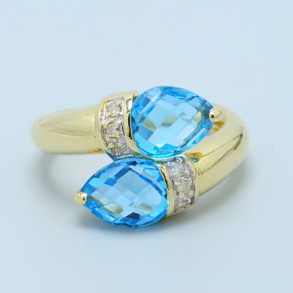 Checkerboard Pear Blue Topaz Wrap Around Ring - 1477 Jewelers