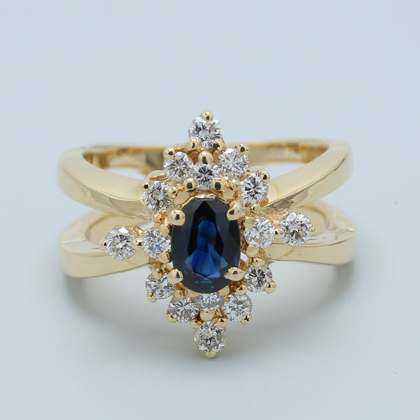 Split Shank Sapphire and Diamond Halo Ring - 1477 Jewelers