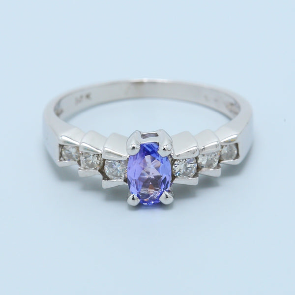 Oval Tanzanite and Diamond Ring in 14k White Gold - 1477 Jewelers