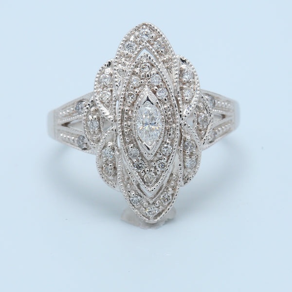 Elegant Antique Reproduction Diamond Cocktail Ring - 1477 Jewelers