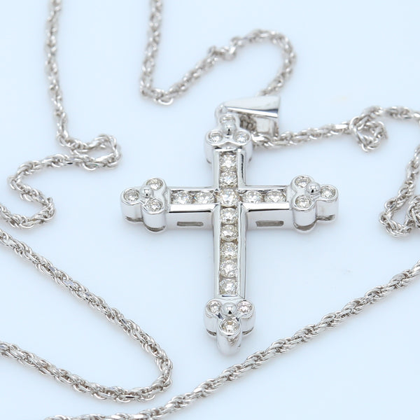 Antique Inspired Diamond Cross Necklace