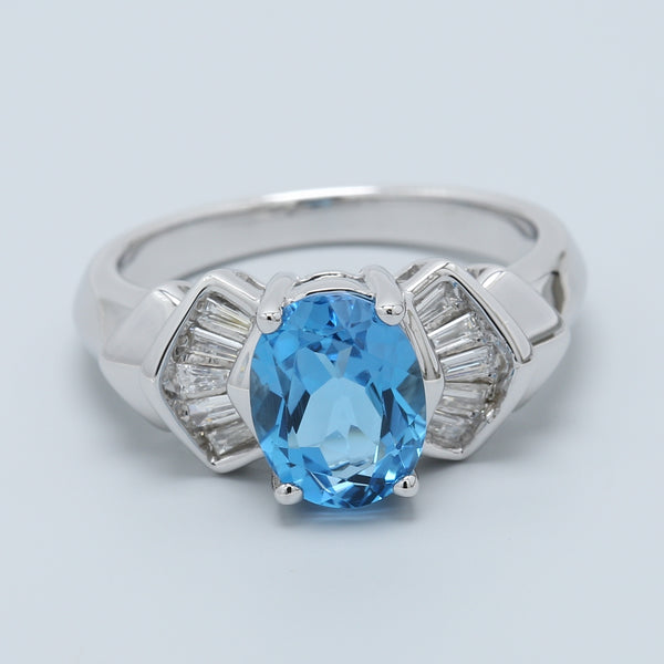 Oval Blue Topaz with Diamond Baguettes Ring in 14k White Gold - 1477 Jewelers