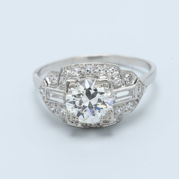 Art Deco Platinum Diamond Engagement Ring - 1477 Jewelers