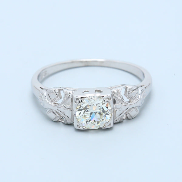 0.5 carat Old European Cut Diamond Engagement Ring in 18k White Gold - 1477 Jewelers
