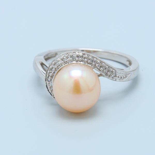 Pearl and Diamond Swirl Ring in 10k White Gold - 1477 Jewelers