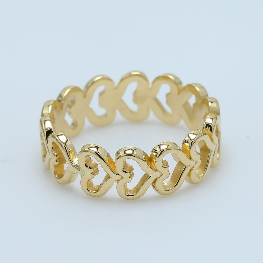 Open Heart Eternity Ring in 14k Yellow Gold - 1477 Jewelers