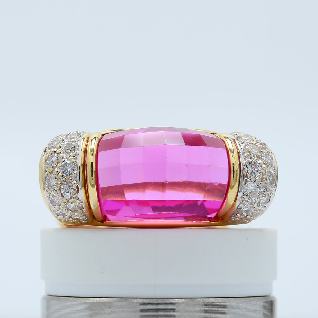 Incredible Checkerboard Pink Topaz Cocktail Ring with Diamond Accents Set in 18k Yellow Gold - 1477 Jewelers