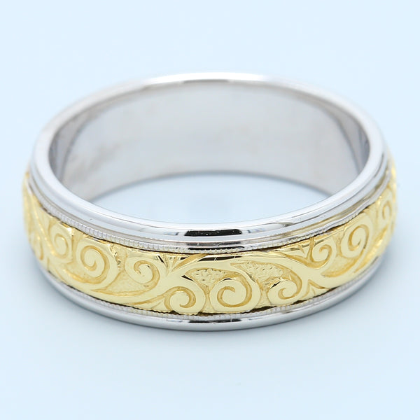 Men's Diana Two Tone Wedding Band with Engraved Swirls in 14k White and Yellow Gold - 1477 Jewelers
