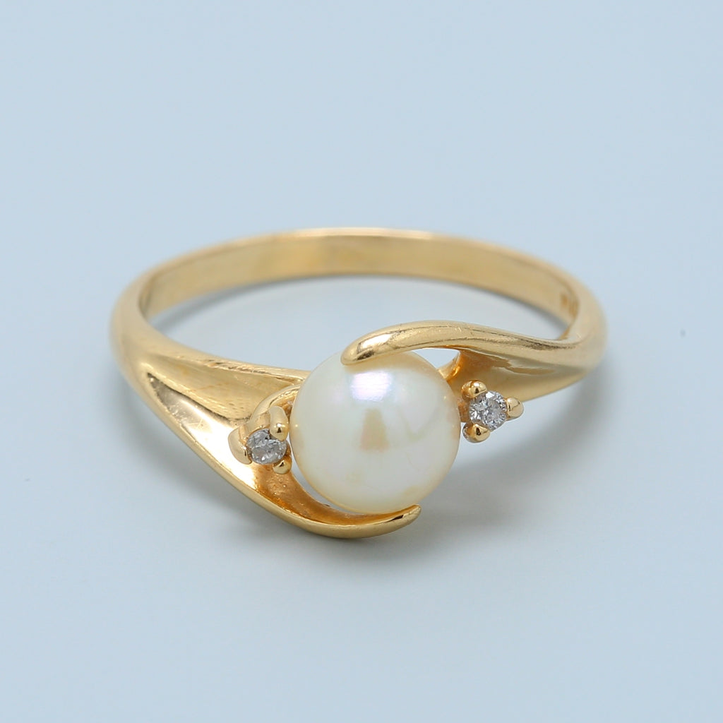 White Pearl and Diamond Swirl Ring - 1477 Jewelers