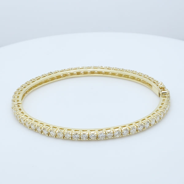 5.80ct Diamond Eternity Bangle in 18k Yellow Gold - 1477 Jewelers