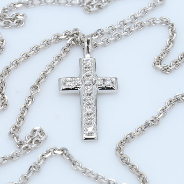 Baby 14k White Gold Diamond Cross Necklace - 1477 Jewelers