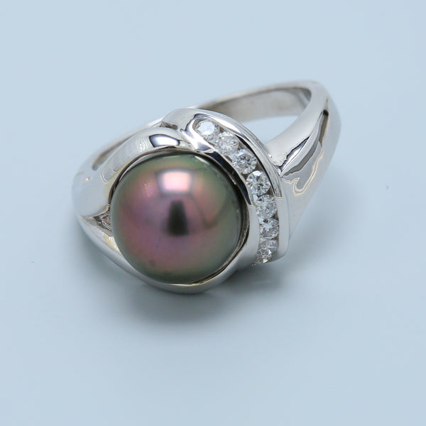 Mystic Tahitian Black Pearl and Diamond Ring - 1477 Jewelers
