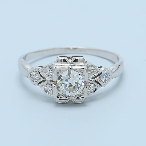 18k White Gold Antique Diamond Enagement Ring - 1477 Jewelers