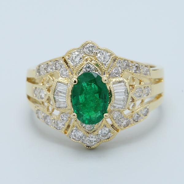 Vintage Natural Oval Emerald with Baguette and Round Diamonds Ring - 1477 Jewelers