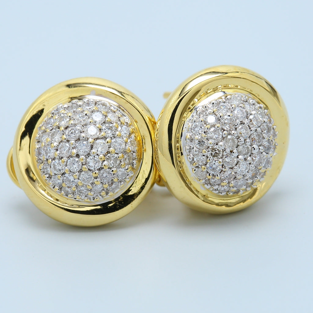 18k Yellow Gold Round Pave French Clip Stud Earrings - 1477 Jewelers