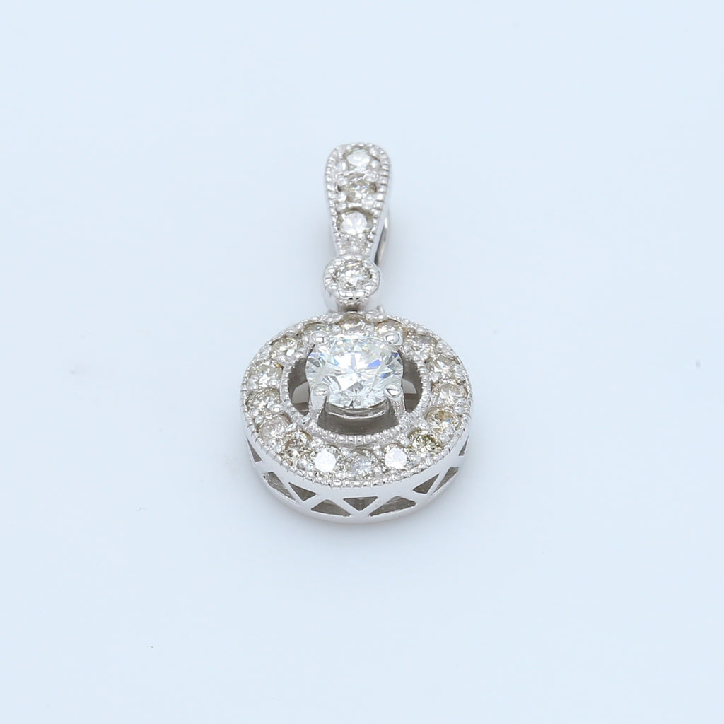 3/4ctw Diamond Halo Pendant - 1477 Jewelers