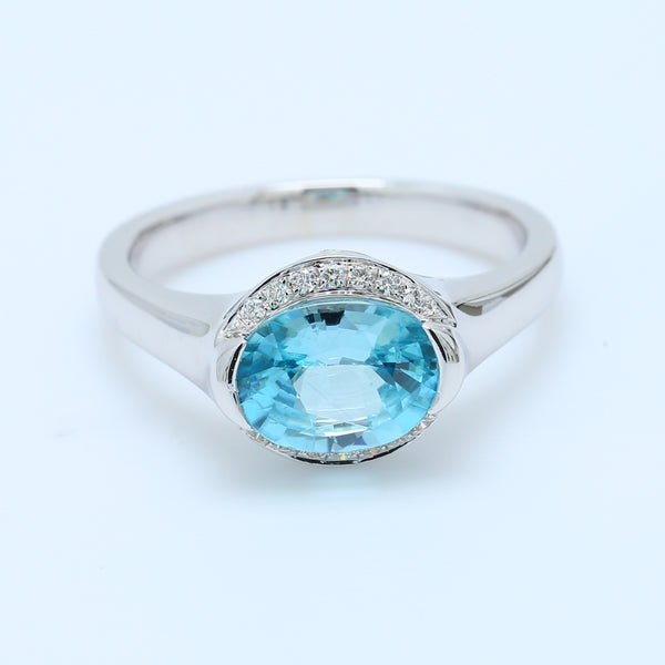 Fancy Blue Topaz and Diamond Ring - 1477 Jewelers