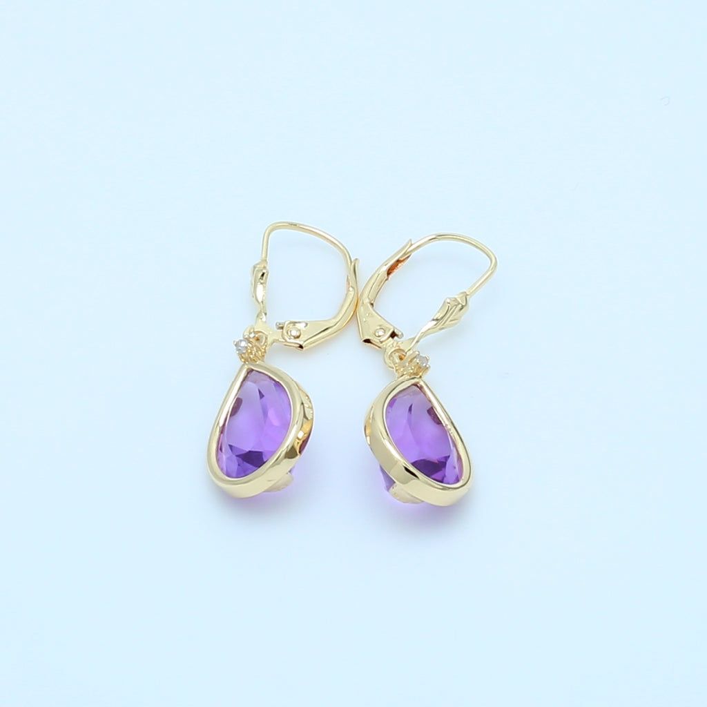 Pear Shaped Amethyst Drop Earrings - 1477 Jewelers