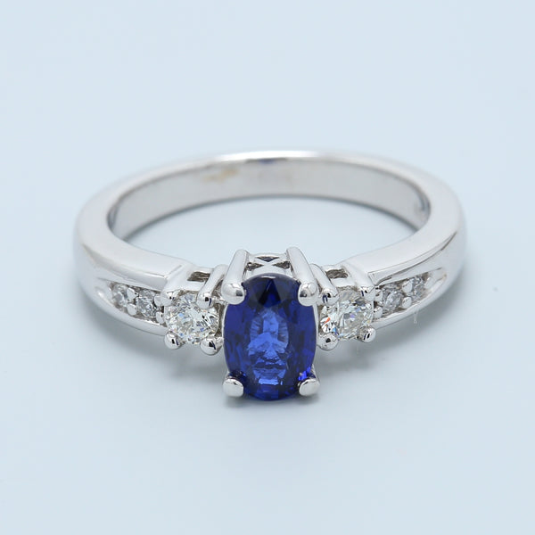 Natural Oval Royal Blue Sapphire and Diamond Three Stone Ring with Diamond Sides - 1477 Jewelers