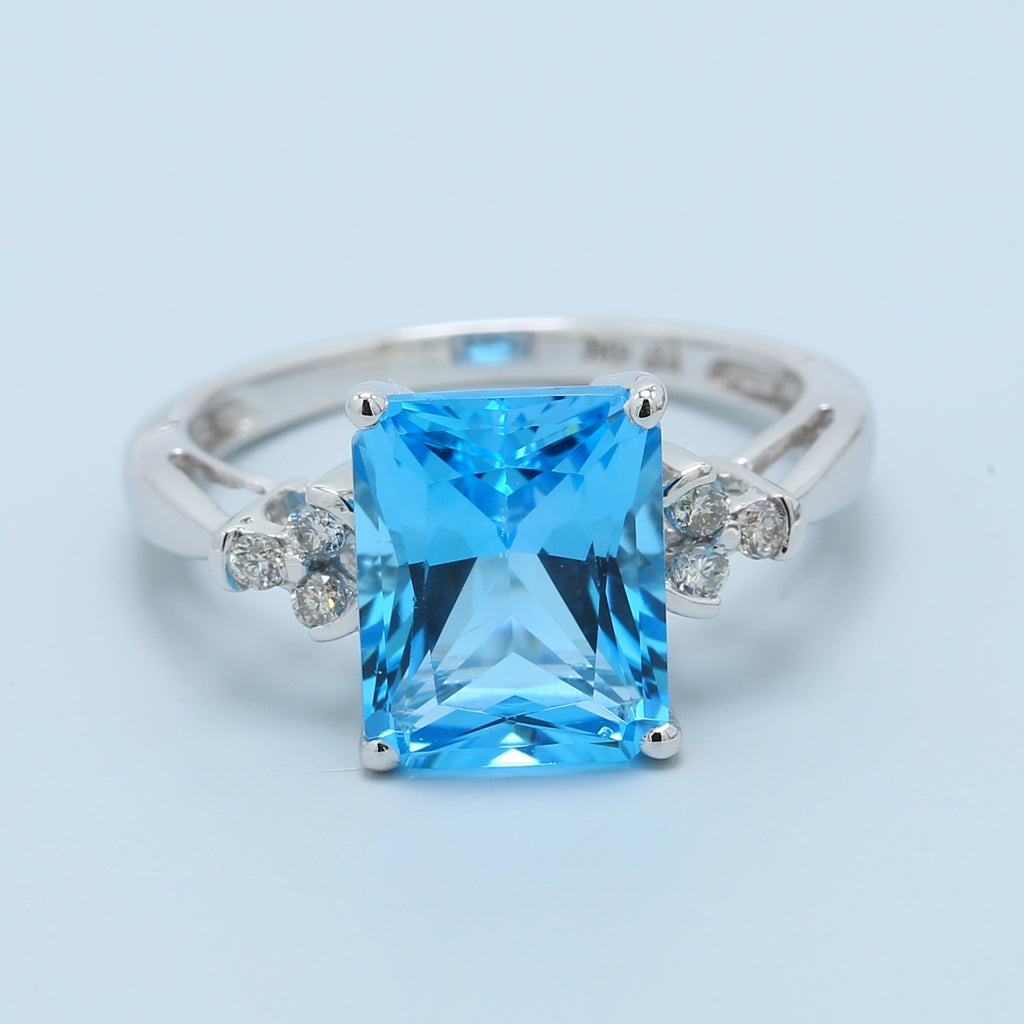 Radiant Blue Topaz and Diamond Ring - 1477 Jewelers