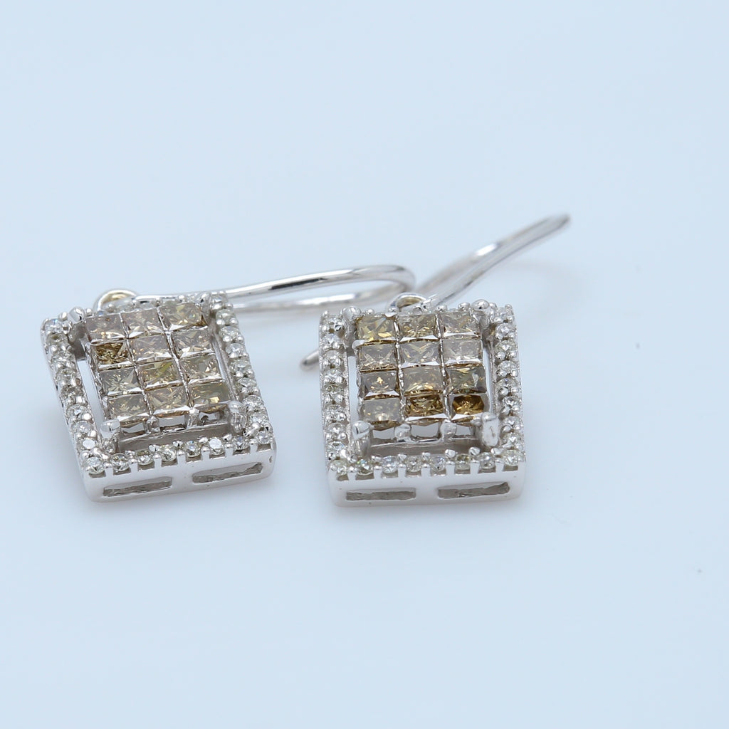 Princess Chocolate Diamond Dangle Earrings - 1477 Jewelers