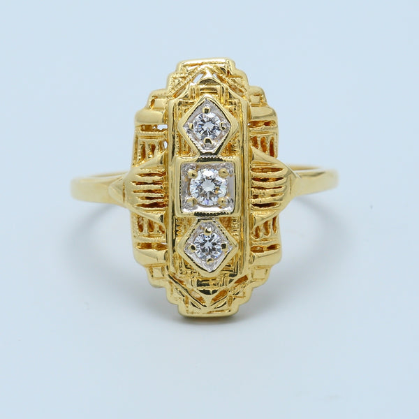 """North to South"" Art Deco Diamond Ring in 14k Yellow Gold - 1477 Jewelers"