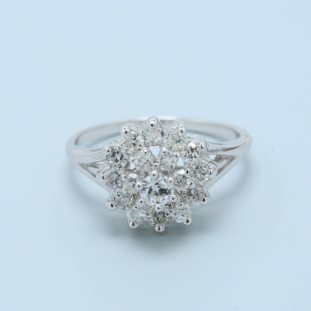Diamond Flower Cluster Ring in 14k White Gold - 1477 Jewelers