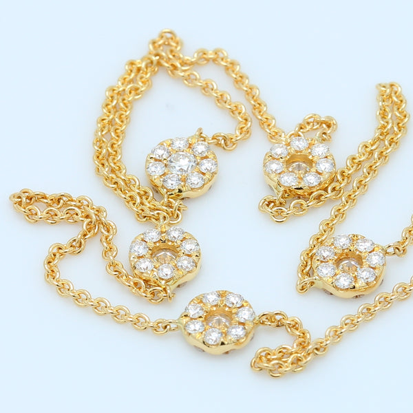 18k Yellow Gold Diamond Flower Station Necklace - 1477 Jewelers