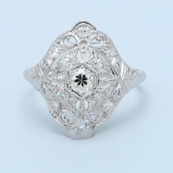 Antique Diamond Cocktail Ring in Platinum - 1477 Jewelers